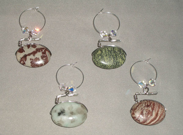 Curling Rock Wine Charms